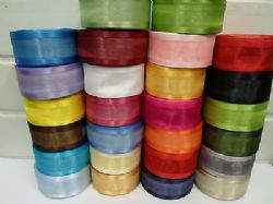 40mm Edged Organza Ribbon 2 metres or 25 metre roll double sided Satin